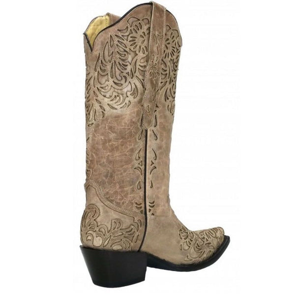 Corral Ladies Bone Embroidery Laser Cut Wedding Boot G1388 - Wild West Boot Store