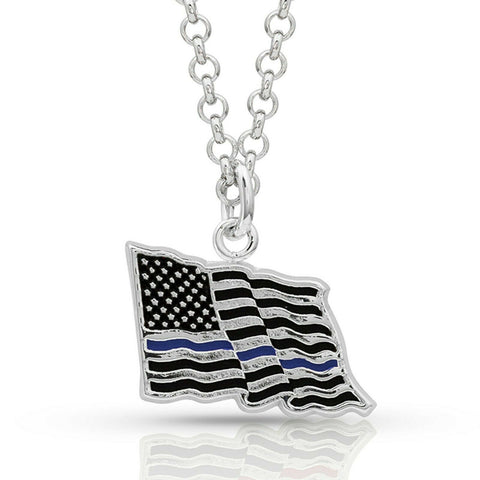 Montana Silversmith Thin Blue Line Flag Necklace NC4085TBL