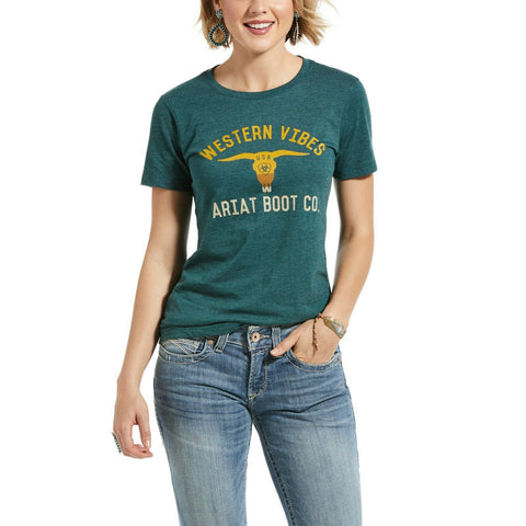 Ariat Ladies Dark Teal Heather USA Short Sleeve Shirts 10032561