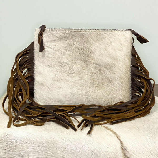 American Darling White Cowhide with Fringe Crossbody ADBG109BRAHFRNG
