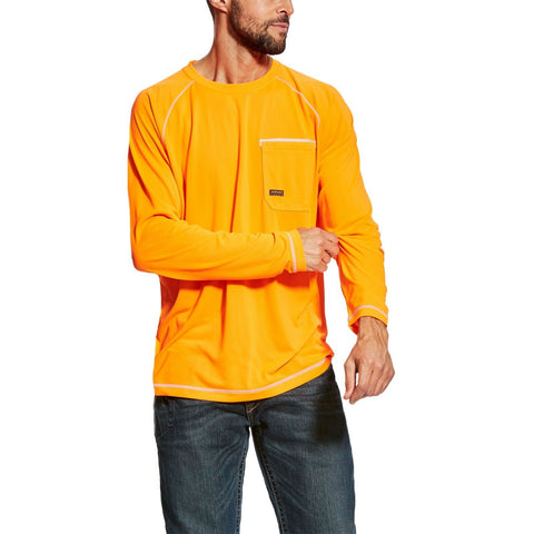 Ariat® Men's Rebar Sunstopper Orange Long Sleeve Work T-Shirt 10025401