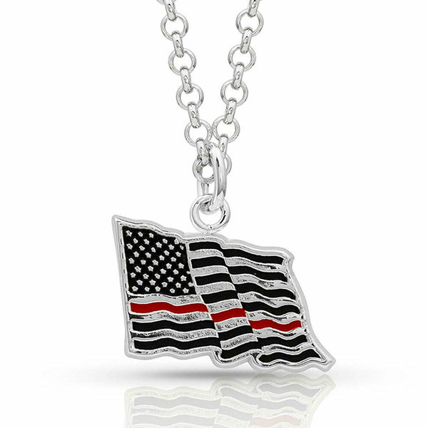Montana Silversmiths Thin Red Line Flag Necklace NC4085TRL