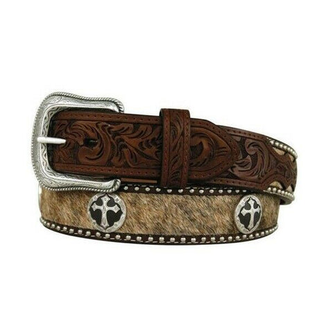 3D Belt Company Men's Brown Hair on Hide with Cross Conchos Belt D8743