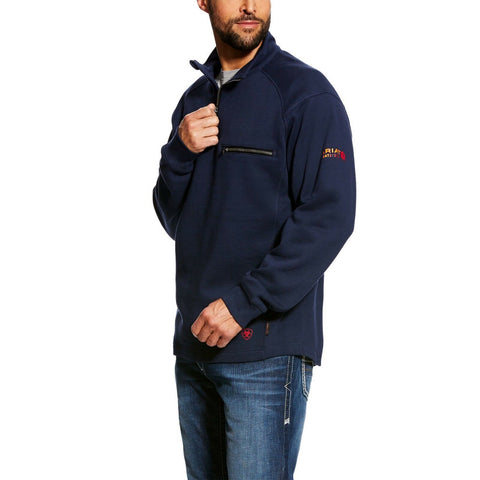 Ariat® Men's FR Rev 1/4 Zip Top Navy Pullover Sweatshirt 10022333