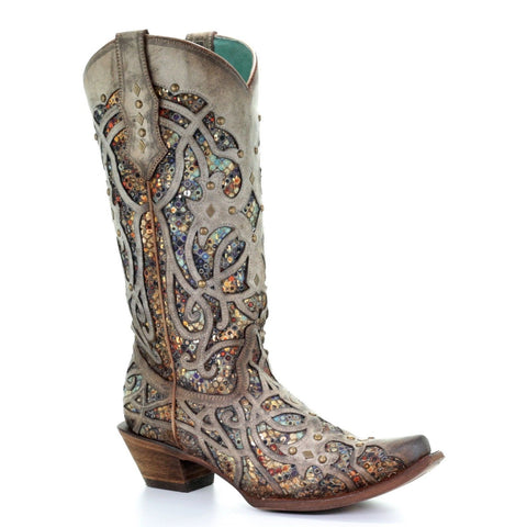 Corral Ladies Taupe Glitter Inlay & Studs Snip Toe Boots C3409 - Wild West Boot Store