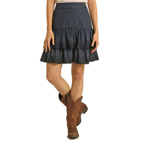 Rock & Roll Cowgirl Ladies Indigo Tiered Skirt 69-5141