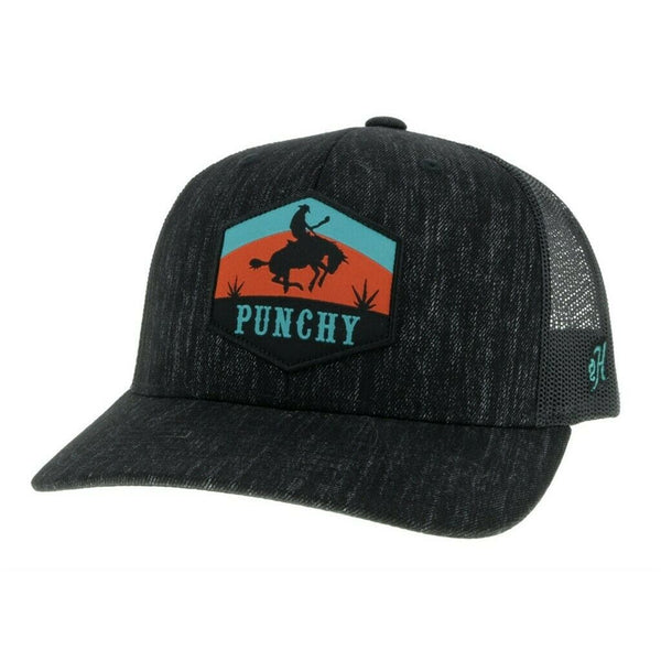 Hooey Punchy Black 6-panel Trucker Hat 5027T-BK