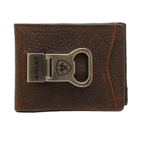 Ariat® Men's Rowdy Brown Bi-Fold Wallet With Money Clip A35119282