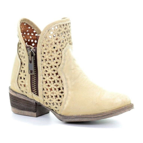 Circle G by Corral Ladies White Cutout Shortie Boot Q5018 - Wild West Boot Store