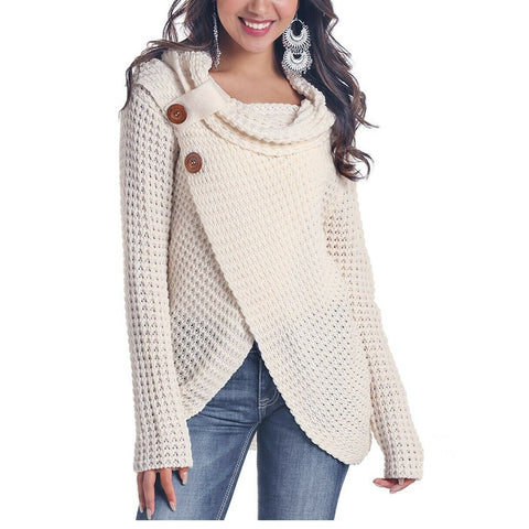 Panhandle Ladies Cream Long Sleeve Waffle Knit Shirt L8T6410-10