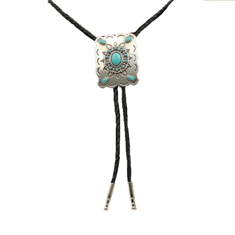 Double S Western Rectangle & Turquoise Slide Bolo Tie 22232