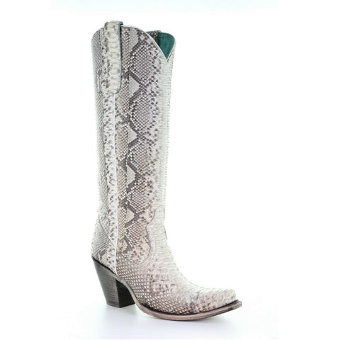 Corral Ladies Natural Python Zipper Tall Top Boots A3789