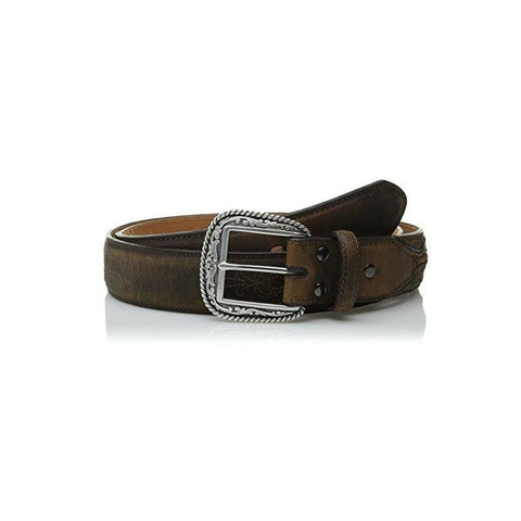 Ariat Men's Brown Flour Embroider Concho Tab Belt A1010202