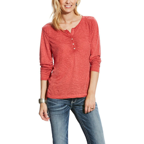 Ariat® Ladies Harvest Henley Red Madder Long Sleeve Shirt 10024268 - Wild West Boot Store