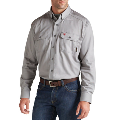 Ariat® Men's FR Flame Resistant Solid Silver Fox Work Shirt 10012253