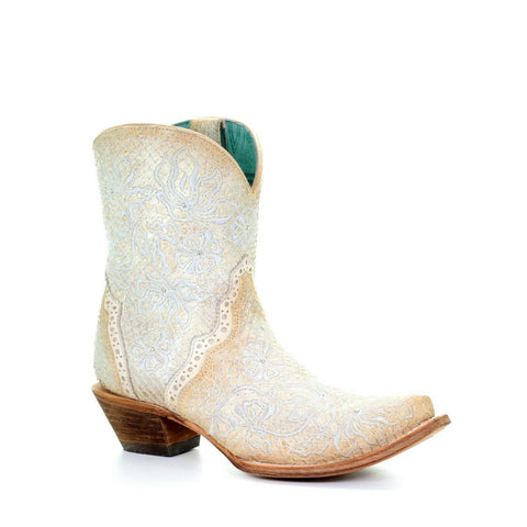 Corral Ladies Bone Floral Embroidery & Studs Ankle Boots C3417