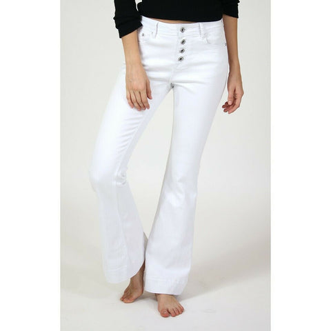 Grace in L.A. Ladies Easy Fit Button Fly White Flare Jeans EL-81514