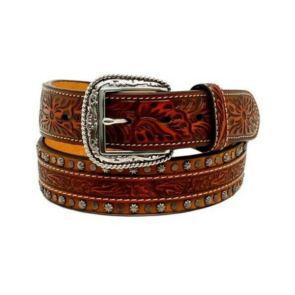 Ariat Men's Conchos & Studded Floral Embossed Leather Belt A1022808