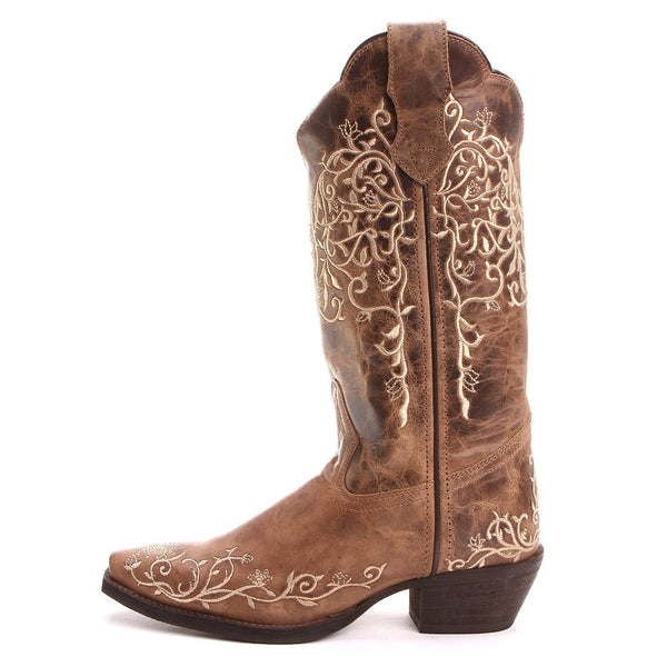 Laredo Ladies Brown Flower Embroidered Western Boot 52177 - Wild West Boot Store - 3