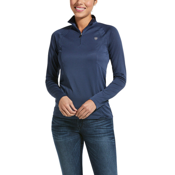 Ariat® Ladies Marine Blue Sunstopper 2.0 1/4 Zip Baselayer 10032679
