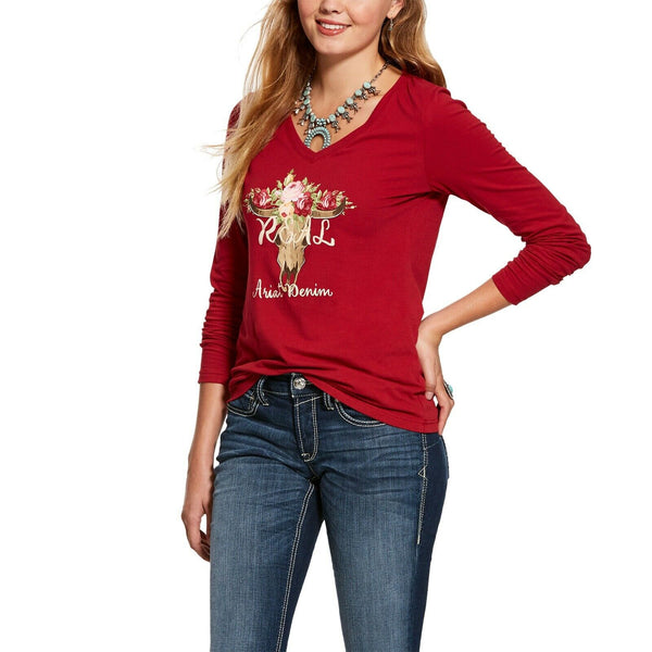 Ariat Ladies R.E.A.L Red Rose Skull Long-Sleeve T-Shirt 10028273