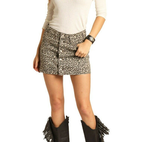 Panhandle Ladies Leopard Button Front Skirt 69-4147
