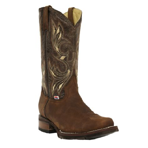 RockinLeather Men's Chocolate Crater Crazy Horse Square Toe Boots 1126 - Wild West Boot Store