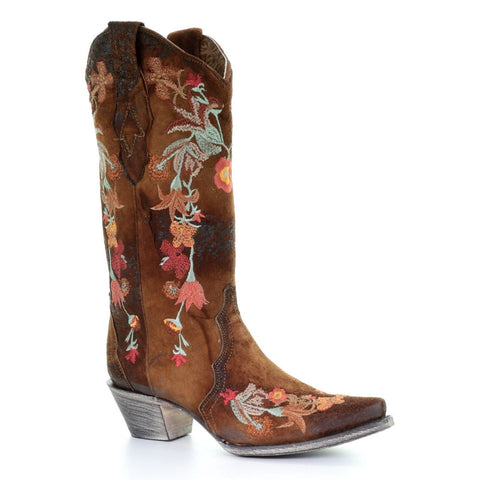 Corral Ladies Chocolate Lamb Floral Embroidered Boot A3597 - Wild West Boot Store