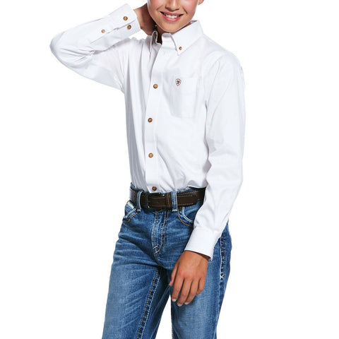 Ariat® Boy's Solid White Twill Long Sleeve Button-Up Shirt 10030162