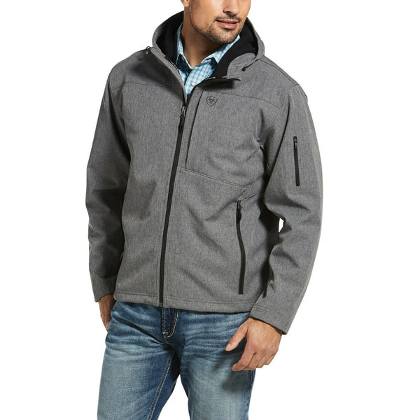 Ariat® Men's Vernon Stretch Softshell Charcoal Hooded Jacket 10033132