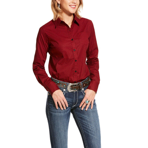 Ariat® Ladies Kirby Stretch Scarlett Red Button-Up Shirt 10028751