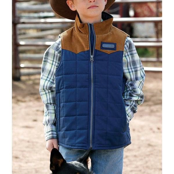 Cinch Boys Quilted Navy Polyfill Vest MWV7930001