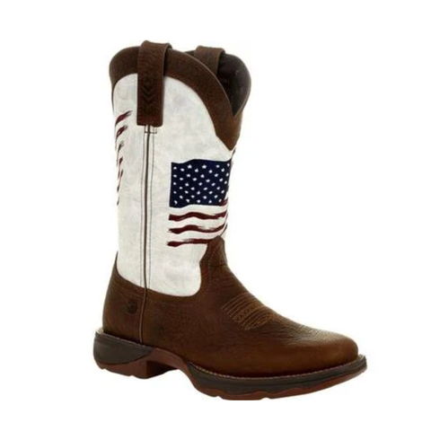 Durango® Ladies Rebel Brown & White Flag Embroidery Western Boots DRD0394