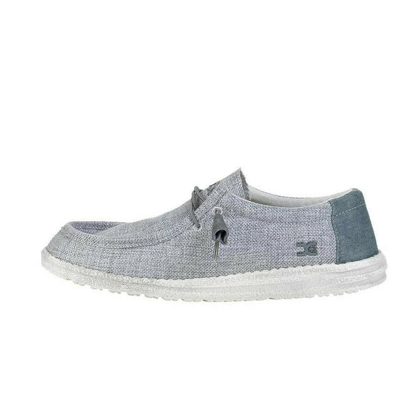 Hey Dude Men's Grey & White Wally Woven Shoe 110393007