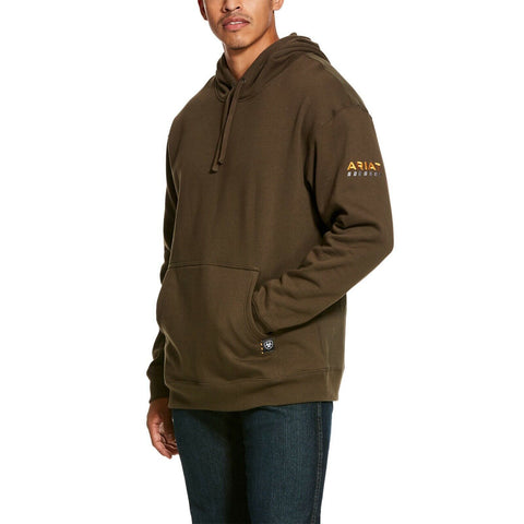 Ariat® Men's Rebar Wren Brown Fleece Workman Hoodie 10027805
