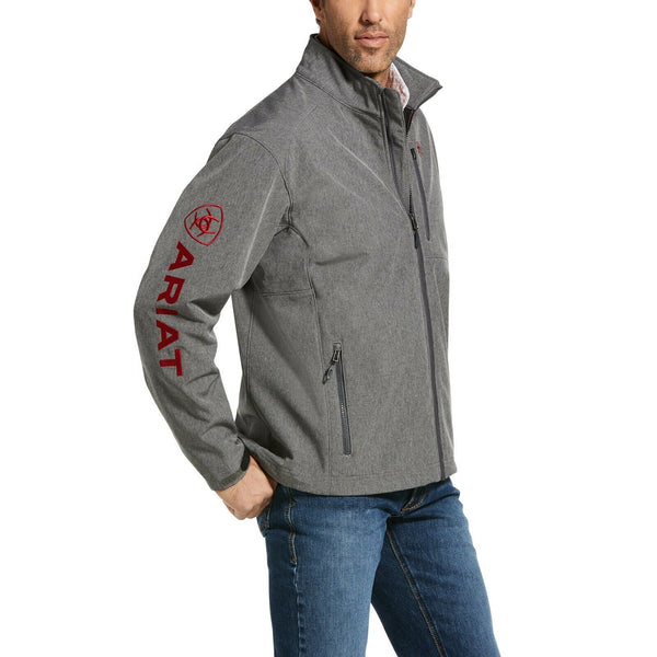 Ariat® Men's Logo 2.0 Softshell Charcoal & Red Jacket 10032934