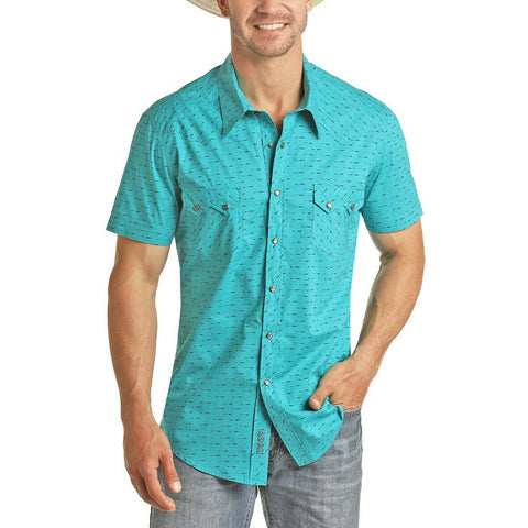 Rock & Roll Cowboy Men's Teal Horizontal Arrow SS Snap Shirt B1S5085