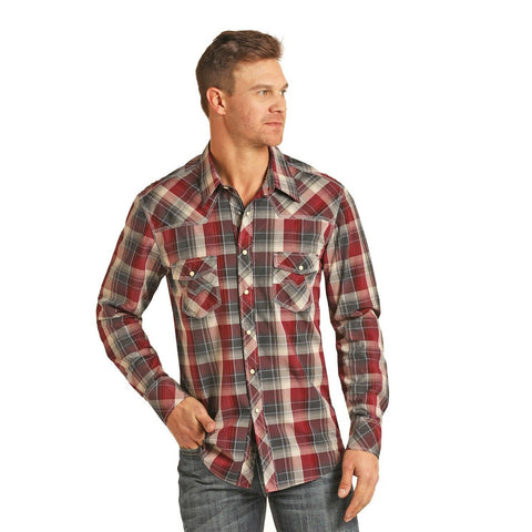 Rock & Roll Cowboy Men's Crinkle Washed Burgundy Plaid Shirts B2S3082