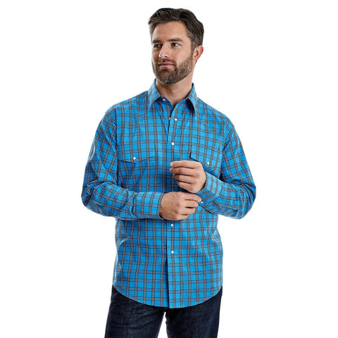 Wrangler Men's Blue and Black Plaid Button Down Shirt MWR345B