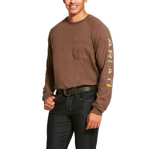 Ariat® Men's Rebar CottonStrong Moss Camo Logo Work T-Shirt 10027904