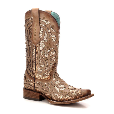 Corral Ladies Orix Glittered Inlay & Studs Square Toe Boots C3275 - Wild West Boot Store