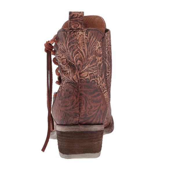 Circle G by Corral Ladies Brown Engraved/Laced Ankle Boot Q5004 - Wild West Boot Store