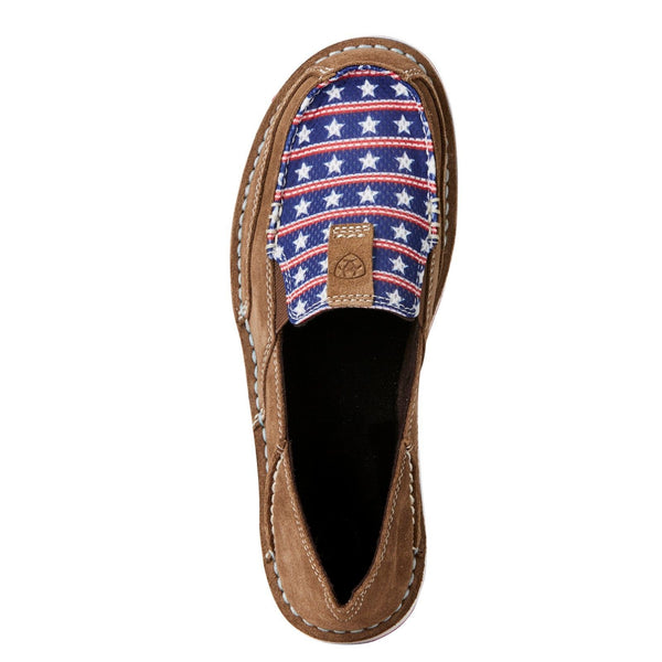 Ariat® Ladies Cruiser Dirty Tan Stars & Stripes Slip-On Shoes 10021624 - Wild West Boot Store