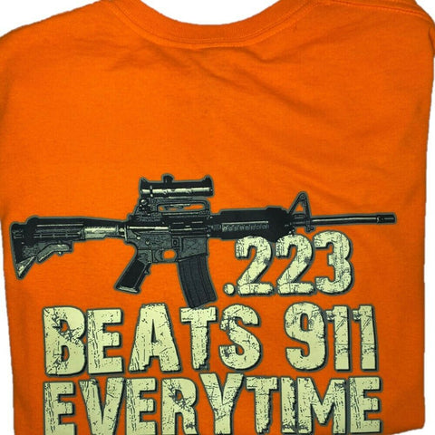 "2nd Amendment Shirts Men's Orange "".223 Is Faster"" Short Sleeve T-Shirt 16208"