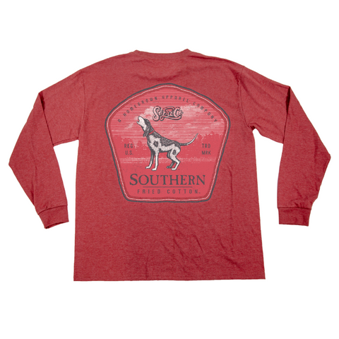 Southern Fried Cotton Close Range Heather Barn Red LS T-shirt SFM31281