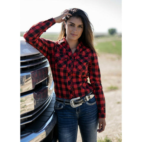 Outback Trading Ladies Red Samantha Performance Shirt 42232-RED
