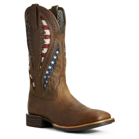 Ariat® Men's Quickdraw VentTEK® Brown Patriotic Flag Boots 10027165