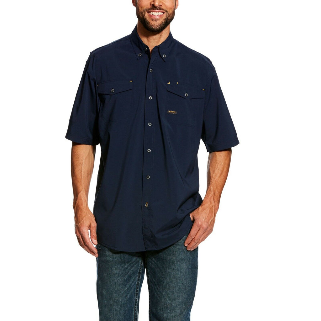ARIAT Mens Rebar Short Sleeve Made Tough Work Shirt