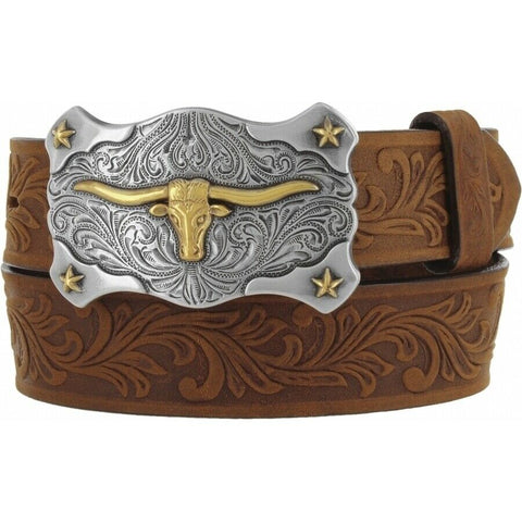 Tony Lama Children's Little Texas Aged Bark Tooled Leather Belt C60119