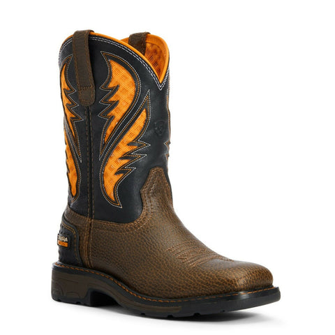 Ariat® Children's Cocoa Brown Work Orange VentTEK™ Boots 10034159